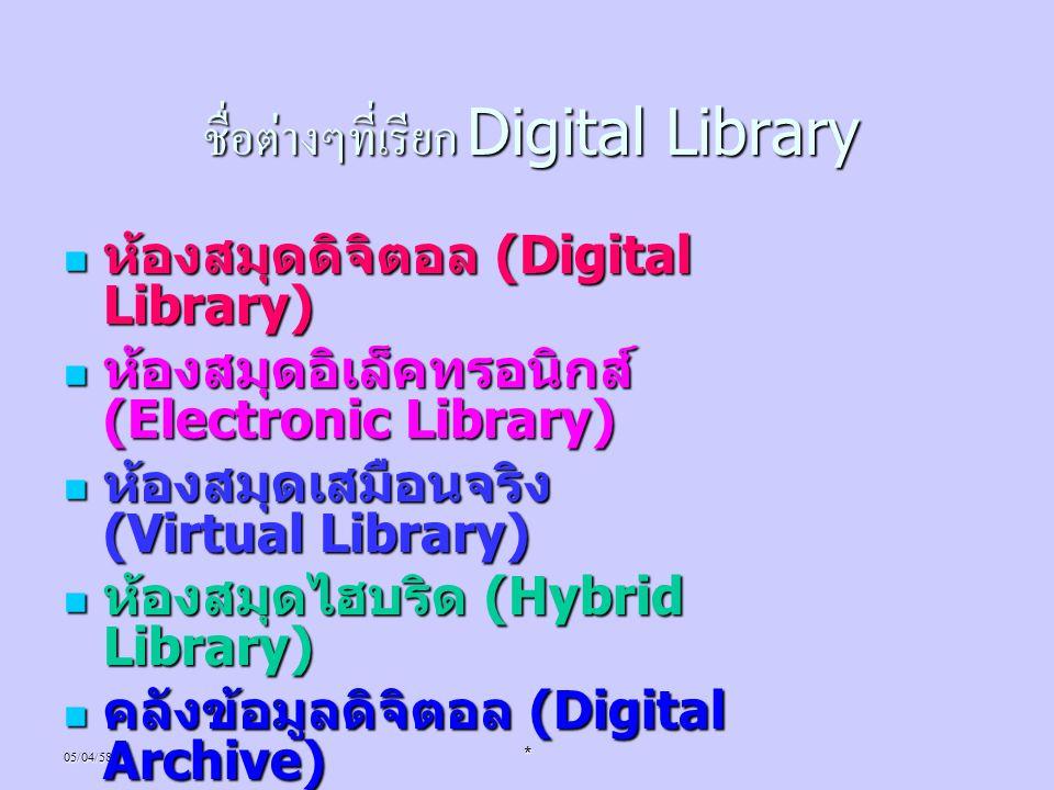 ชื่อต่างๆที่เรียก Digital Library