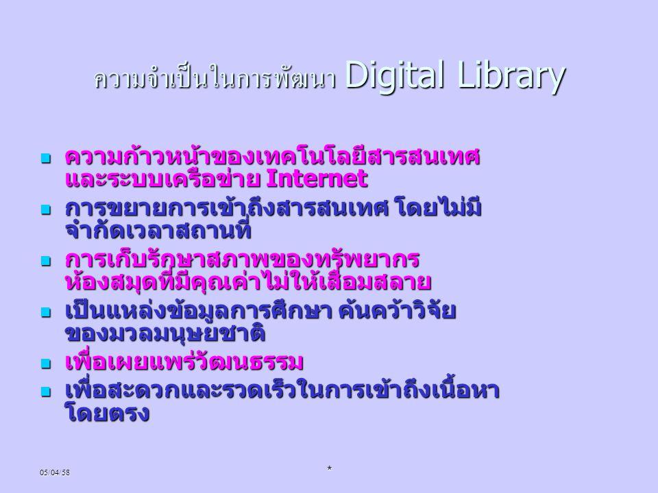 ความจำเป็นในการพัฒนา Digital Library