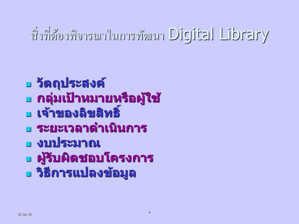 สิ่งที่ต้องพิจารณาในการพัฒนา Digital Library