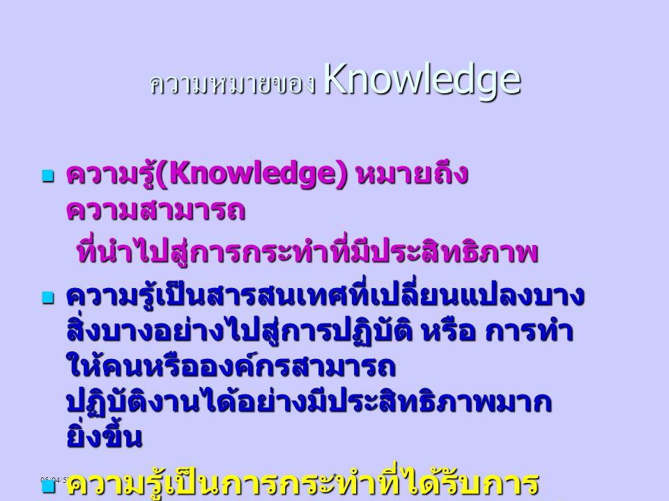 ความหมายของ Knowledge