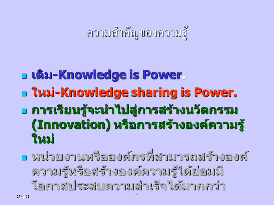 ความสำคัญของความรู้ เดิม-Knowledge is Power.