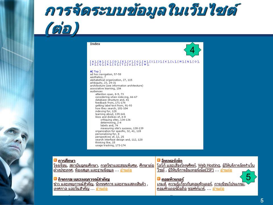 การจัดระบบข้อมูลในเว็บไซต์ (ต่อ)