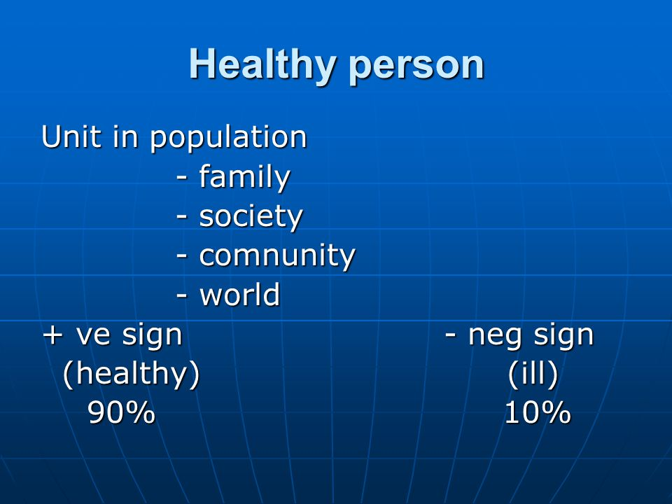 Healthy person Unit in population - family - society - comnunity