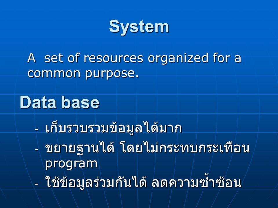 System Data base เก็บรวบรวมข้อมูลได้มาก