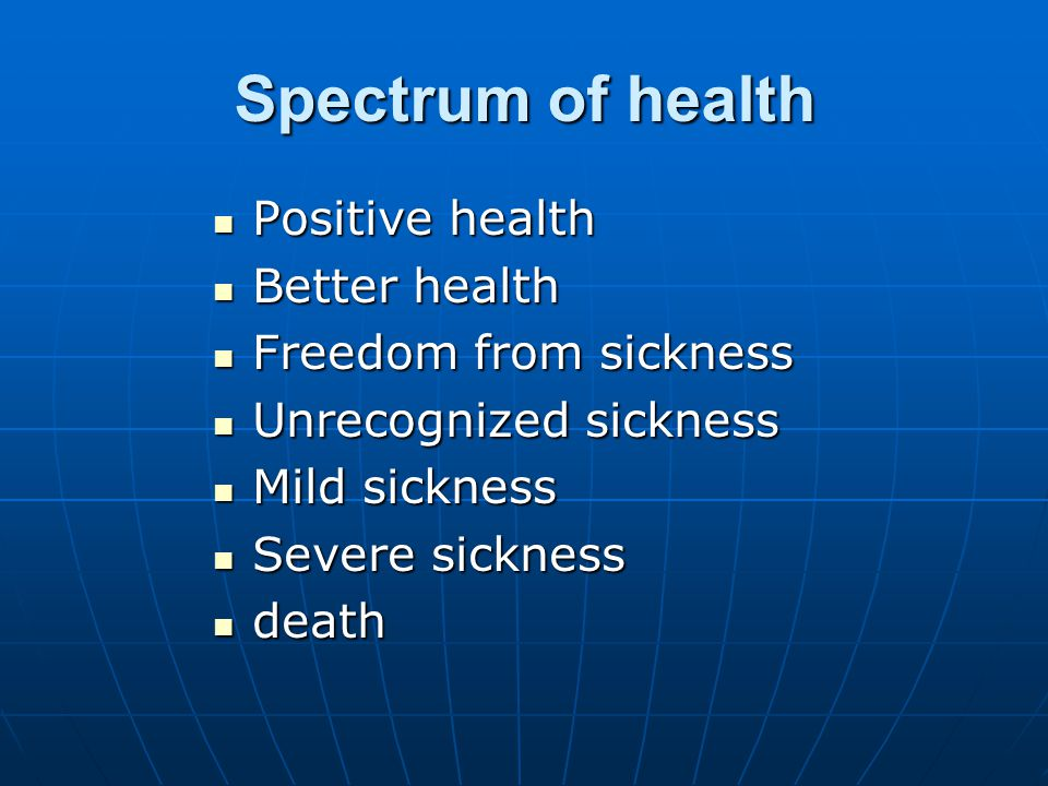 Spectrum of health Positive health Better health Freedom from sickness
