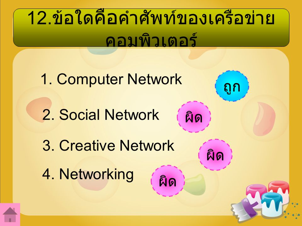 12.ข้อใดคือคำศัพท์ของเครือข่ายคอมพิวเตอร์