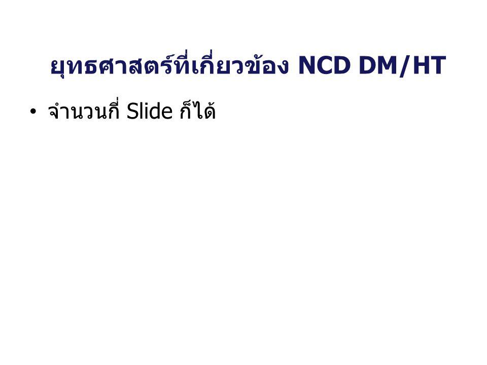 ยุทธศาสตร์ที่เกี่ยวข้อง NCD DM/HT