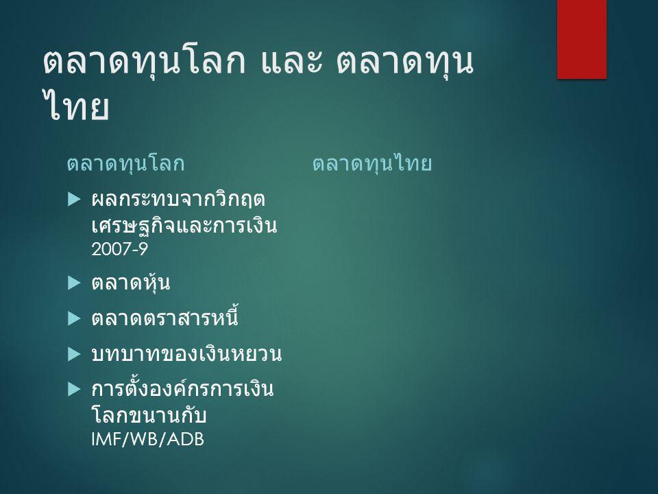 ตลาดทุนโลก และ ตลาดทุนไทย