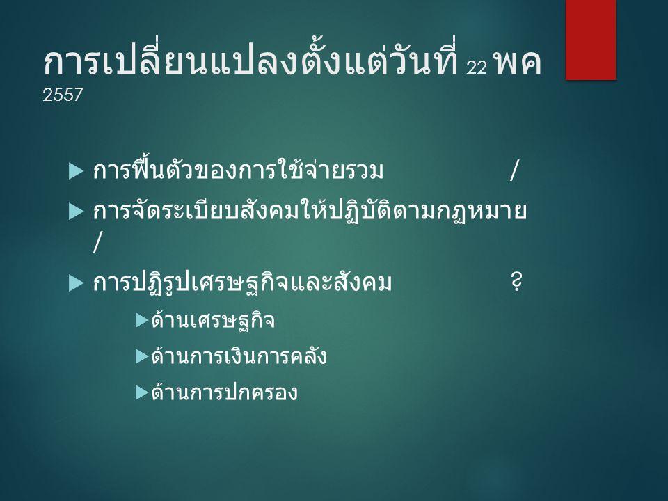 การเปลี่ยนแปลงตั้งแต่วันที่ 22 พค 2557