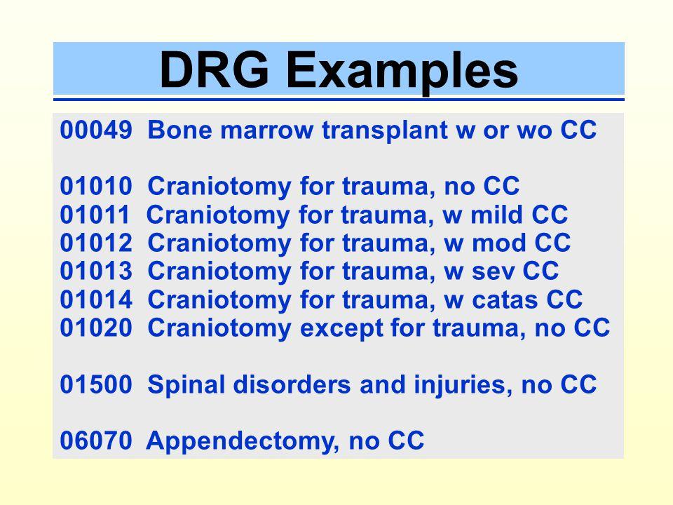 DRG Examples 00049 Bone marrow transplant w or wo CC