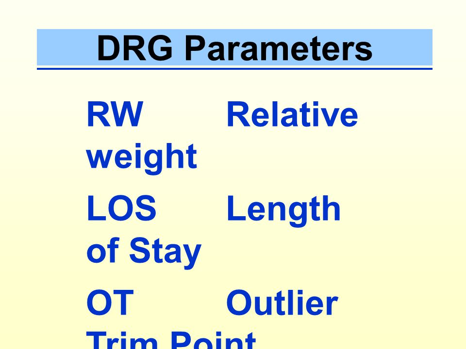 DRG Parameters RW Relative weight. LOS Length of Stay.