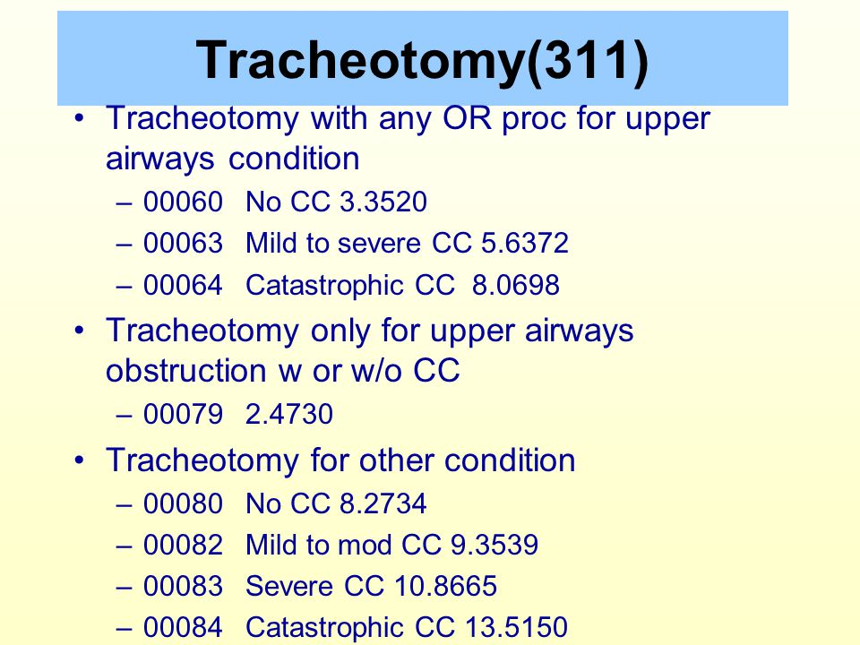 Tracheotomy(311) Tracheotomy with any OR proc for upper airways condition. 00060 No CC 3.3520. 00063 Mild to severe CC 5.6372.