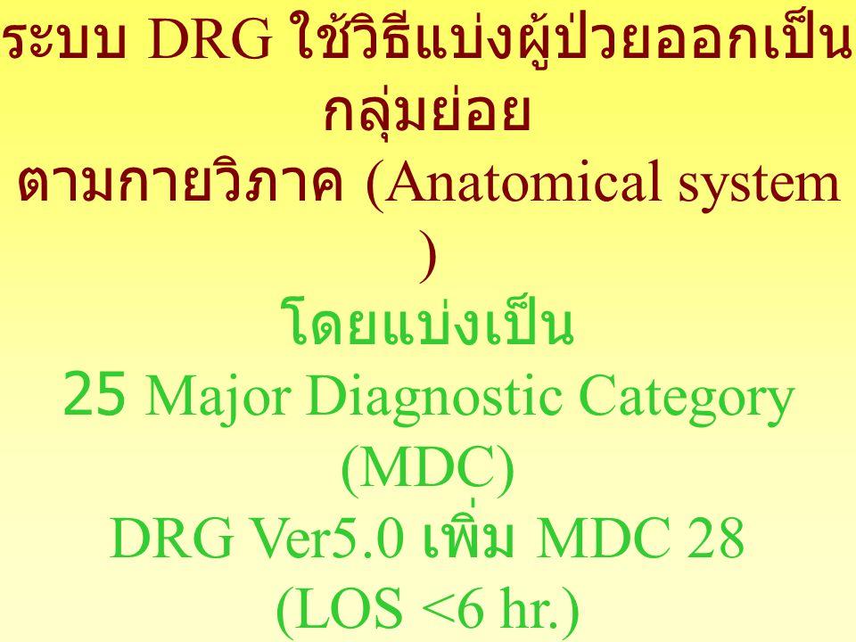 โดยแบ่งเป็น 25 Major Diagnostic Category (MDC)