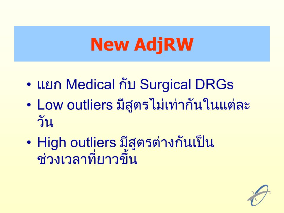 New AdjRW แยก Medical กับ Surgical DRGs