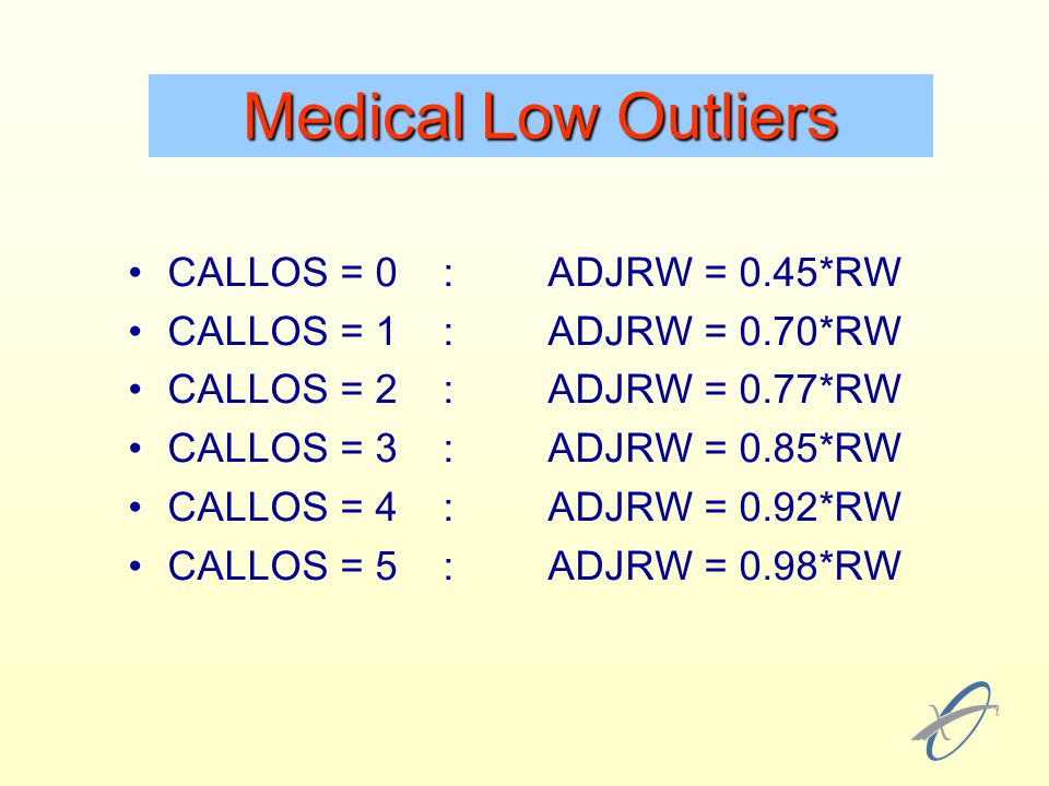 Medical Low Outliers CALLOS = 0 : ADJRW = 0.45*RW