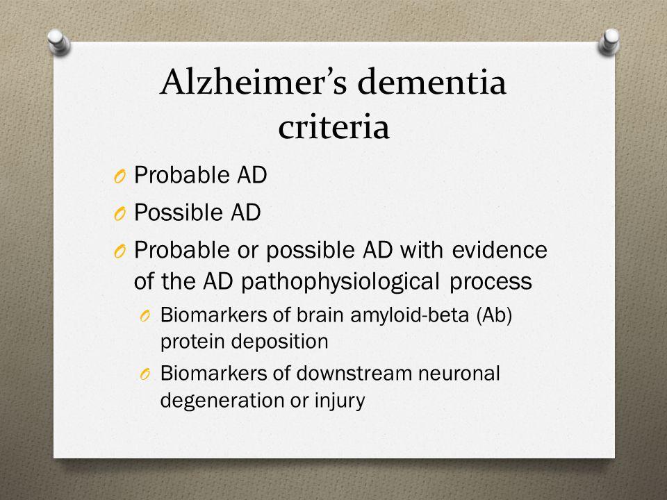 Alzheimer's dementia criteria