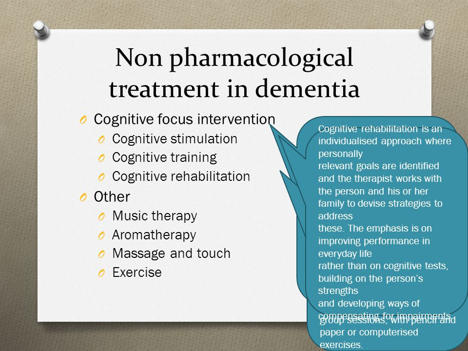 Non pharmacological treatment in dementia