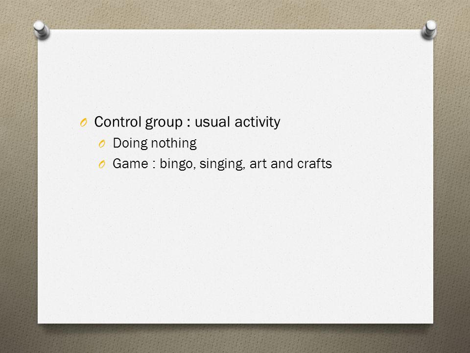 Control group : usual activity