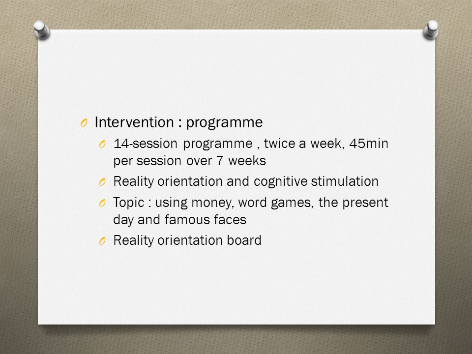 Intervention : programme
