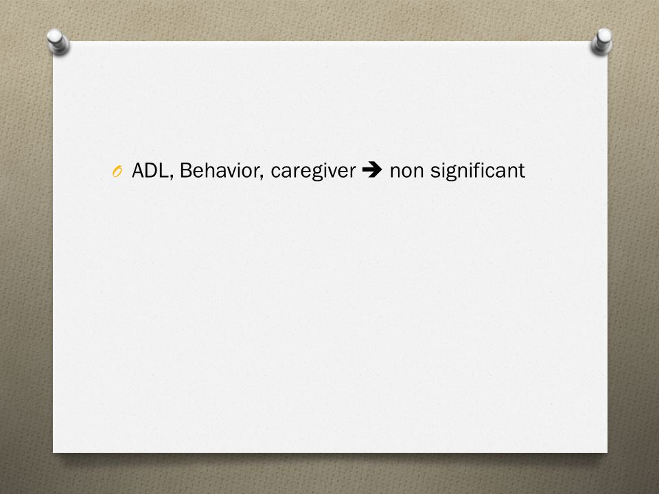 ADL, Behavior, caregiver  non significant