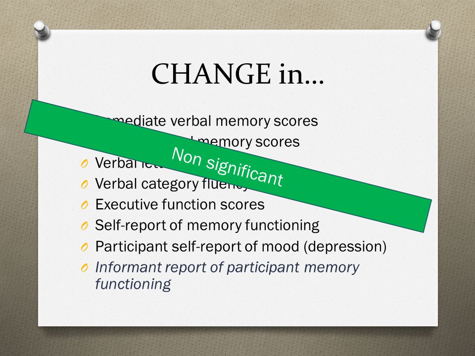 CHANGE in… Non significant Immediate verbal memory scores