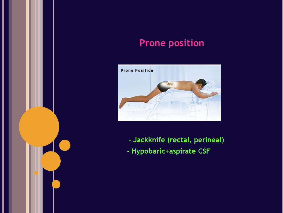 Prone position - Jackknife (rectal, perineal) - Hypobaric+aspirate CSF