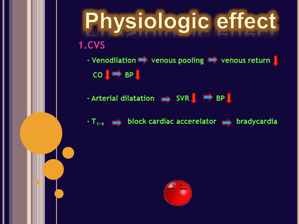 Physiologic effect 1.CVS - Venodilation venous pooling venous return