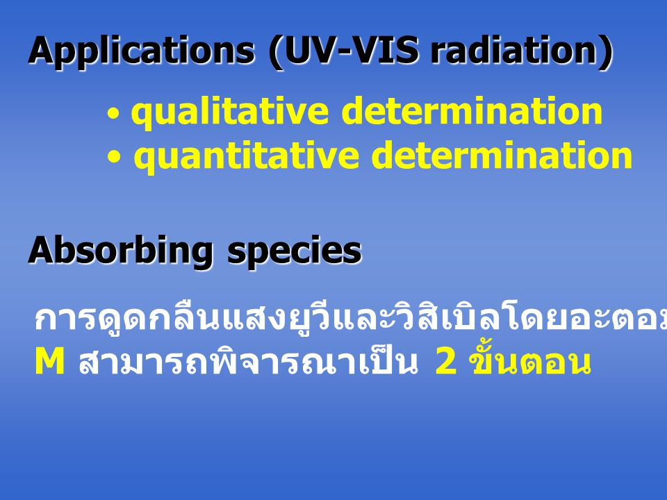 Applications (UV-VIS radiation)