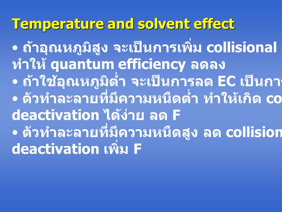 Temperature and solvent effect