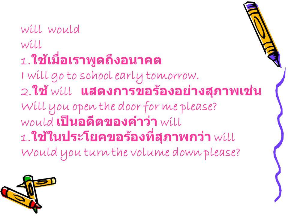 will would will 1.ใช้เมื่อเราพูดถึงอนาคต I will go to school early tomorrow.