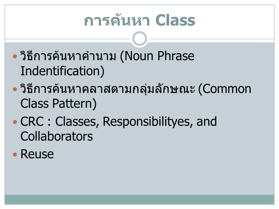 การค้นหา Class วิธีการค้นหาคำนาม (Noun Phrase Indentification)