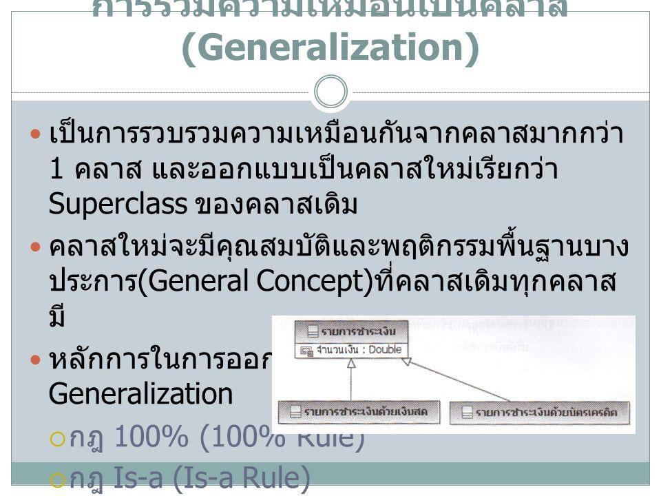 การรวมความเหมือนเป็นคลาส (Generalization)