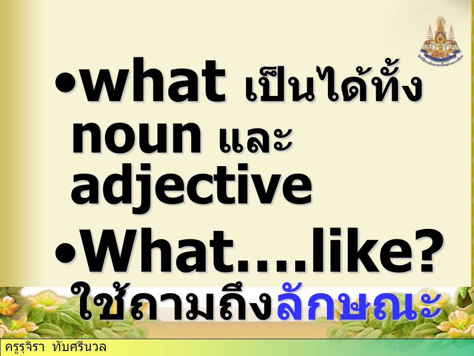what เป็นได้ทั้ง noun และ adjective What….like ใช้ถามถึงลักษณะ