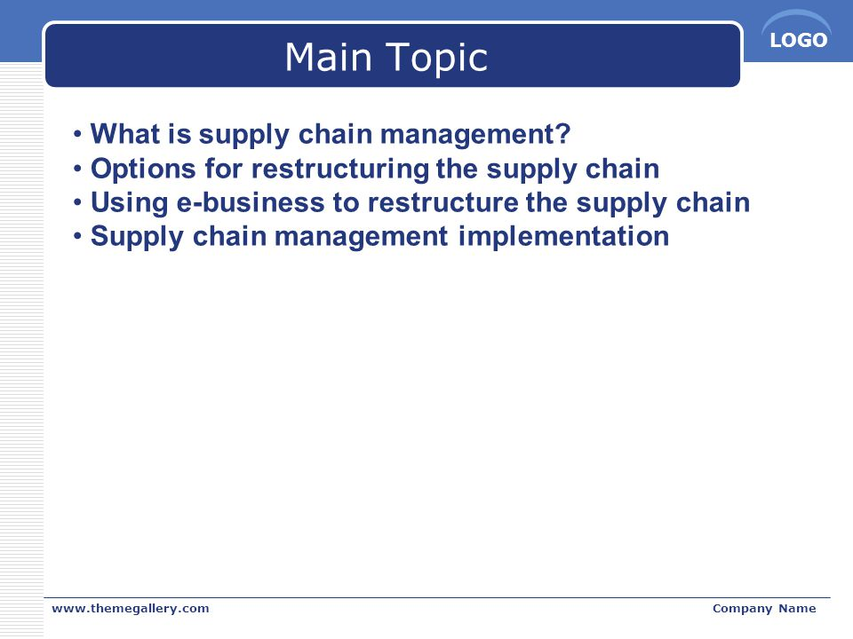Main Topic What is supply chain management