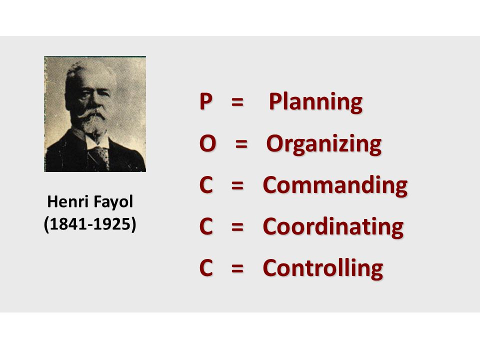 P = Planning O = Organizing C = Commanding C = Coordinating