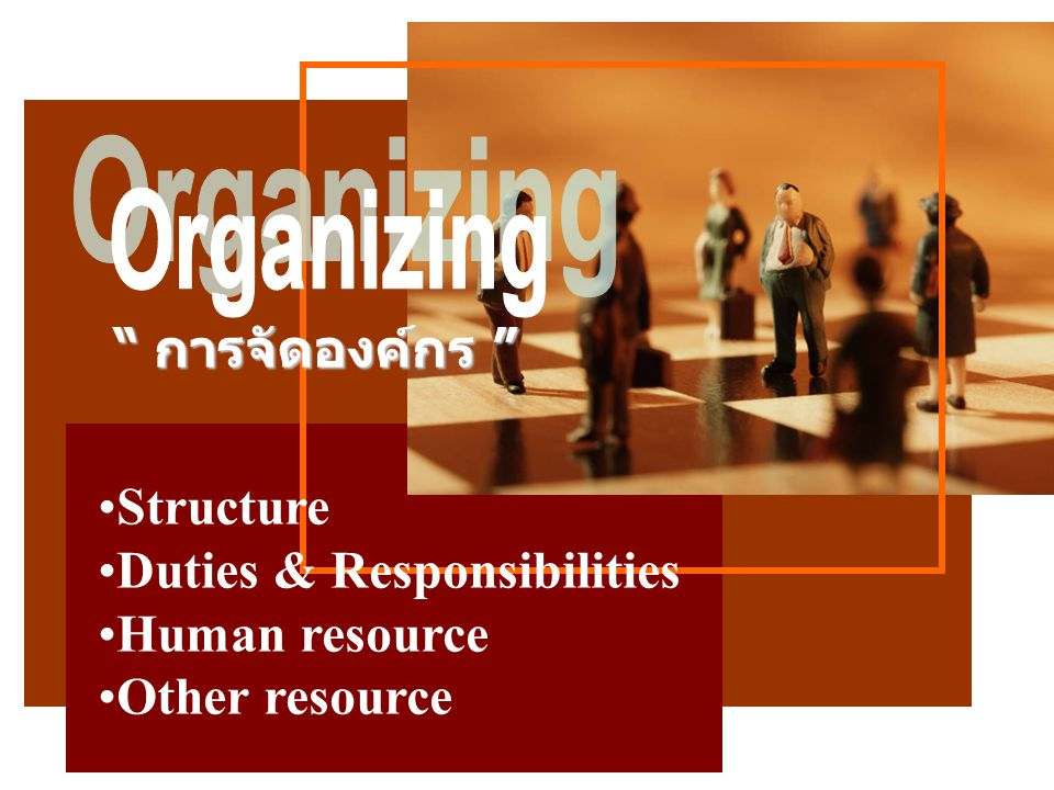 Organizing การจัดองค์กร Structure Duties & Responsibilities Human resource Other resource