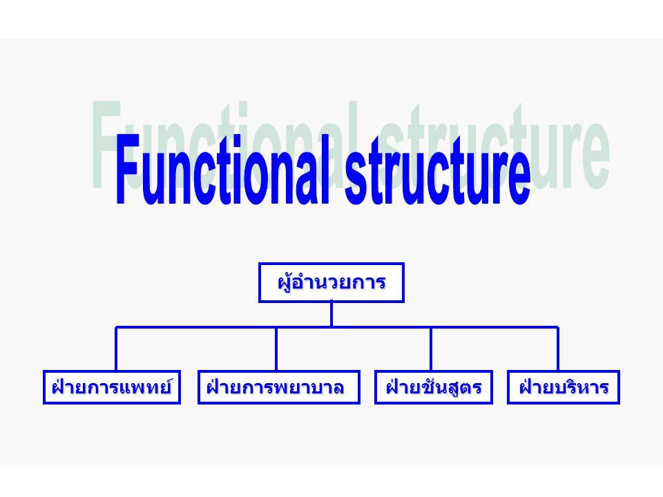 Functional structure ผู้อำนวยการ ฝ่ายการแพทย์ ฝ่ายการพยาบาล