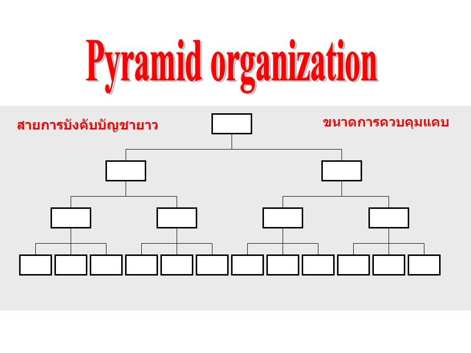 Pyramid organization ขนาดการควบคุมแคบ สายการบังคับบัญชายาว