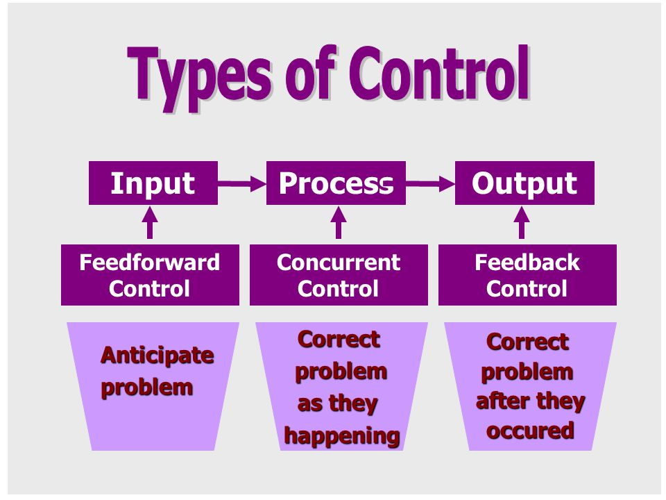 Types of Control Input Process Output Feedforward Control