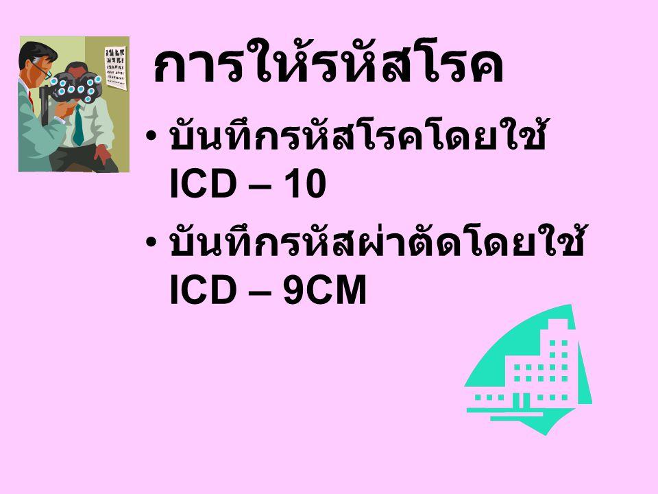 การให้รหัสโรค บันทึกรหัสโรคโดยใช้ ICD – 10