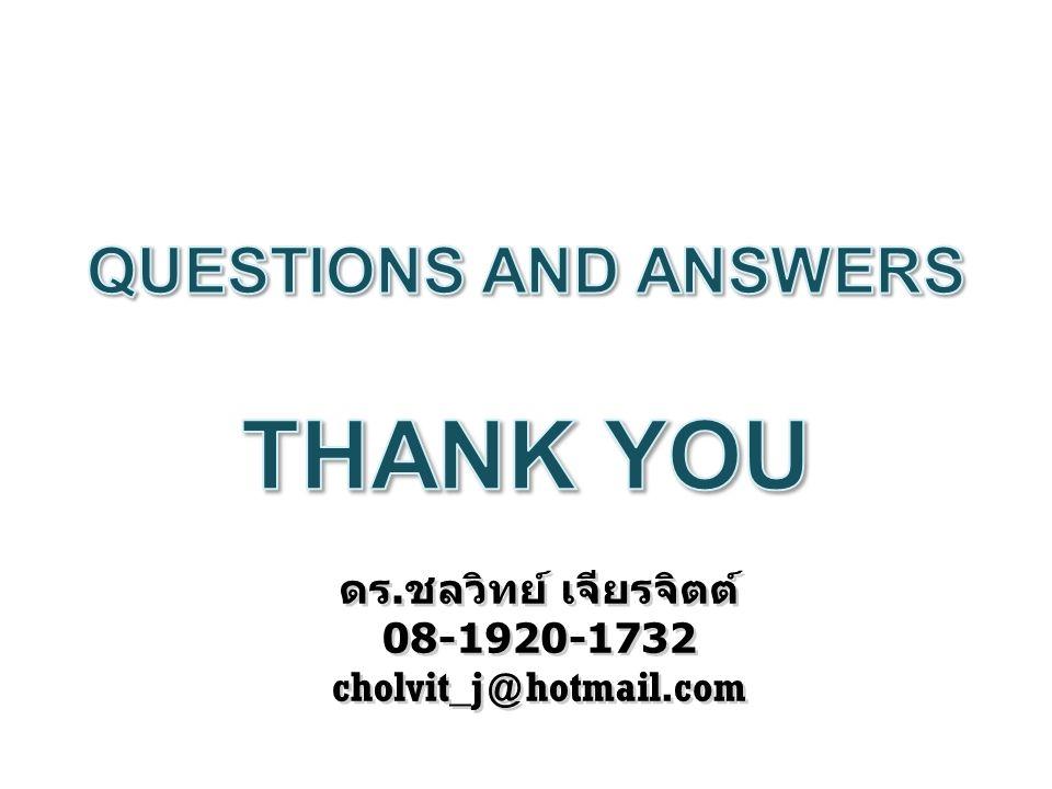 THANK YOU QUESTIONS AND ANSWERS ดร.ชลวิทย์ เจียรจิตต์ 08-1920-1732
