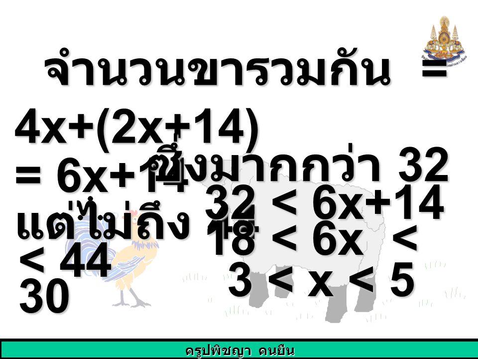 จำนวนขารวมกัน = 4x+(2x+14)