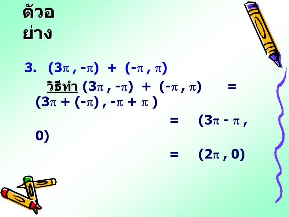 ตัวอย่าง 3. (3 , -) + (- , ) วิธีทำ (3 , -) + (- , ) = (3 + (-) , - +  ) = (3 -  , 0)