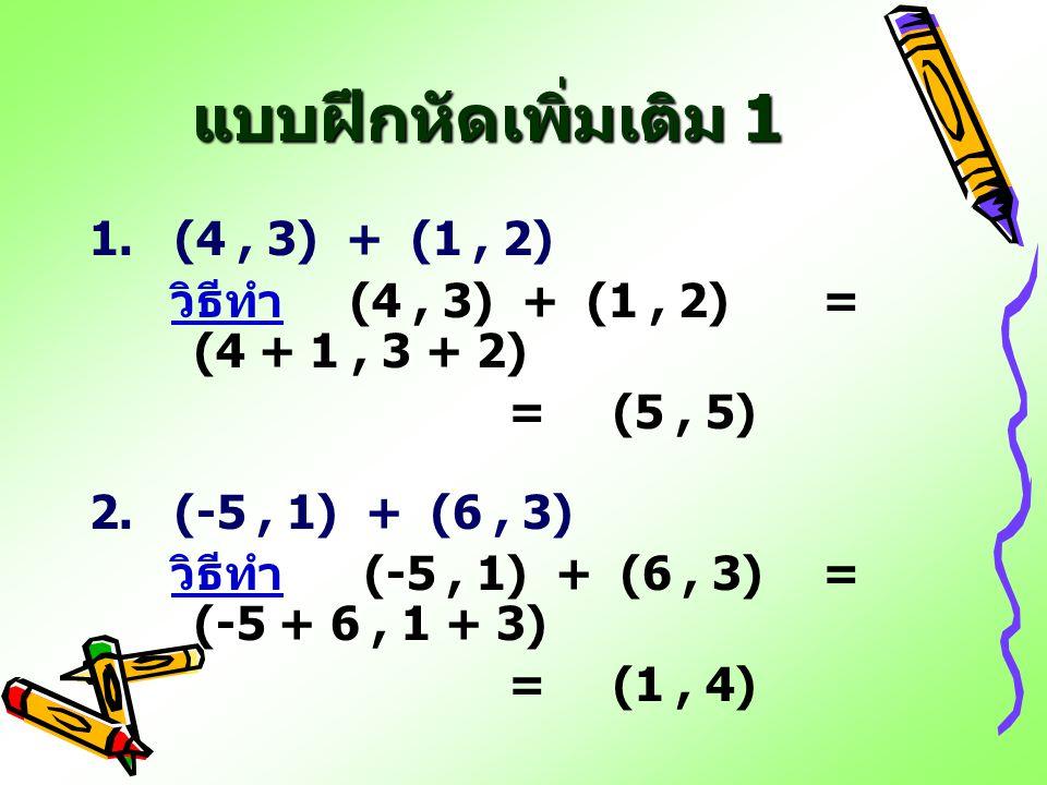 แบบฝึกหัดเพิ่มเติม 1 1. (4 , 3) + (1 , 2)