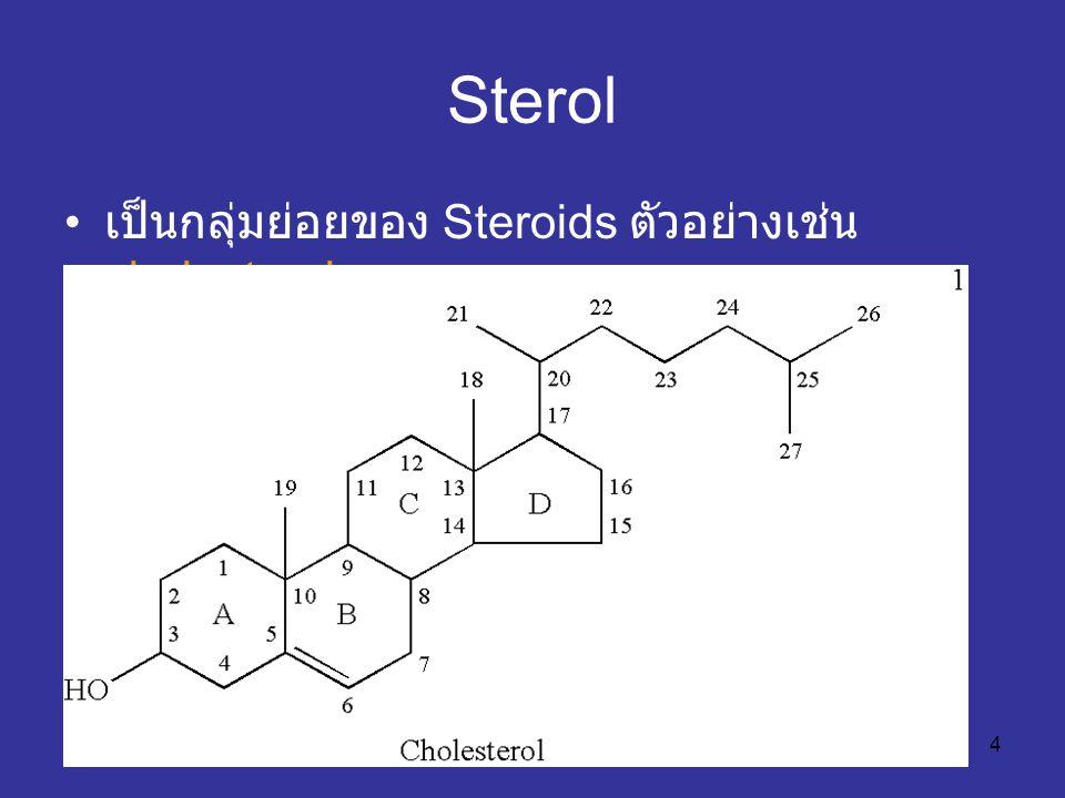 Sterol เป็นกลุ่มย่อยของ Steroids ตัวอย่างเช่น cholesterol