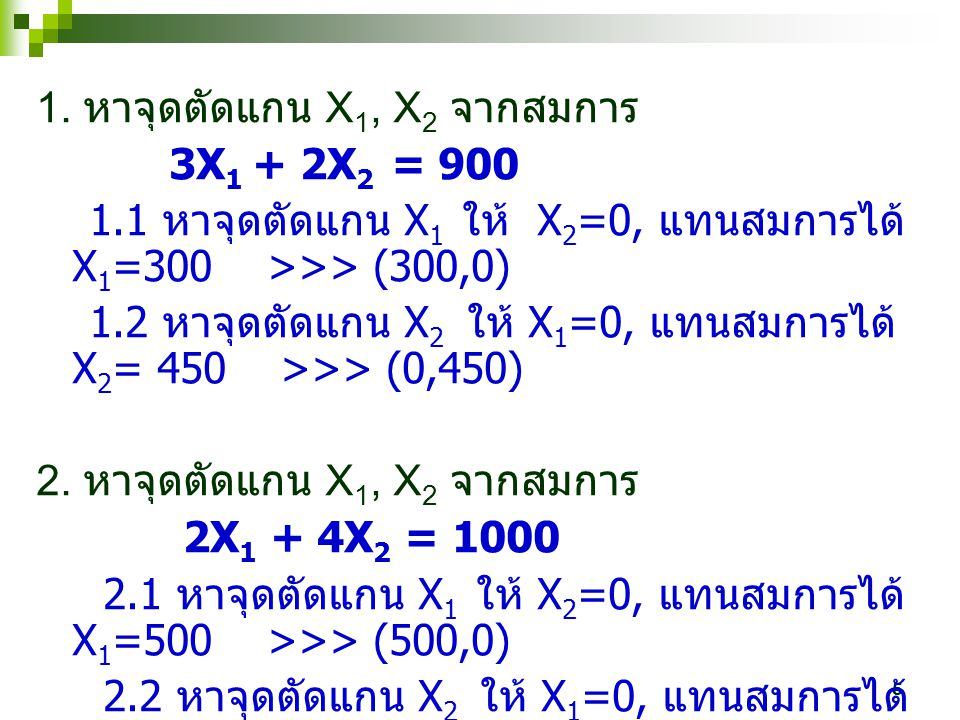 1. หาจุดตัดแกน X1, X2 จากสมการ
