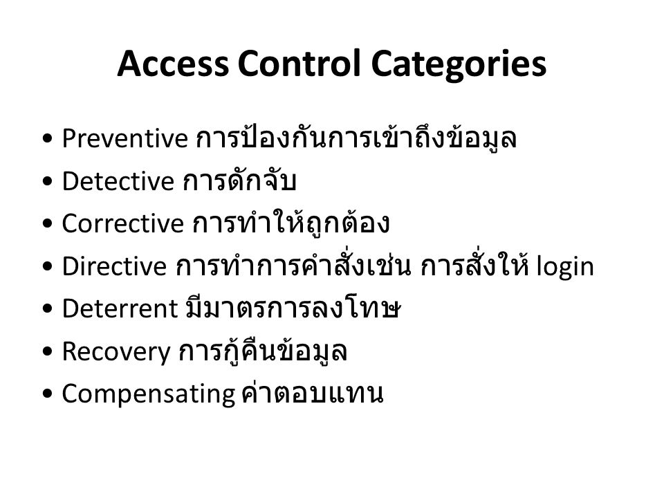 Access Control Categories