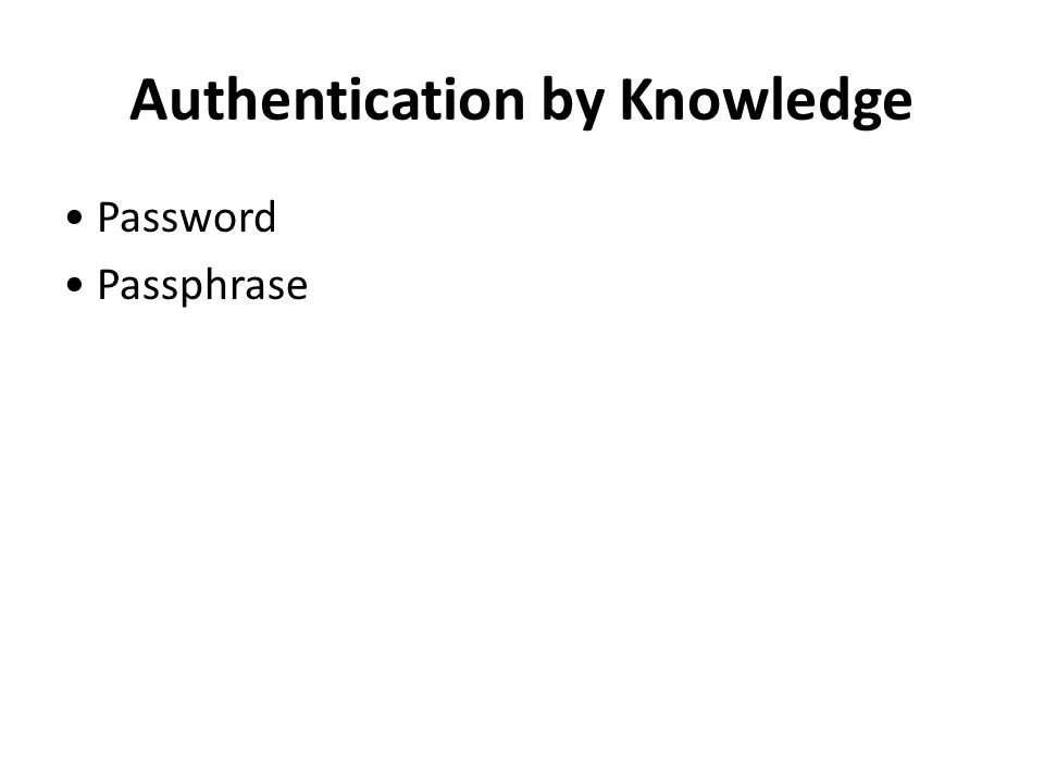 Authentication by Knowledge