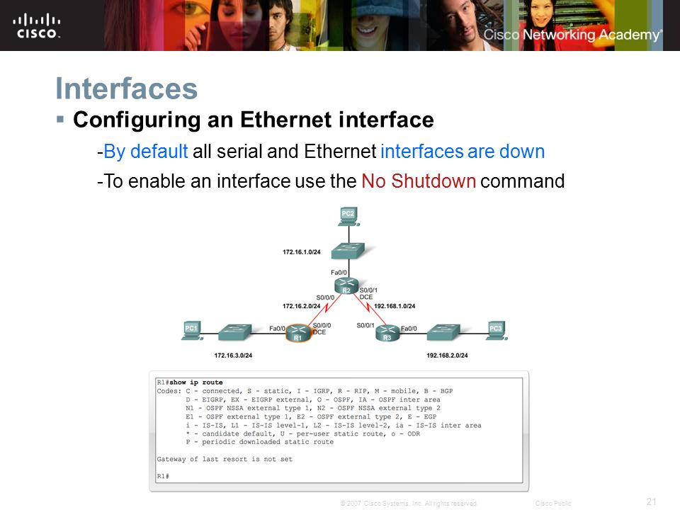 Interfaces Configuring an Ethernet interface