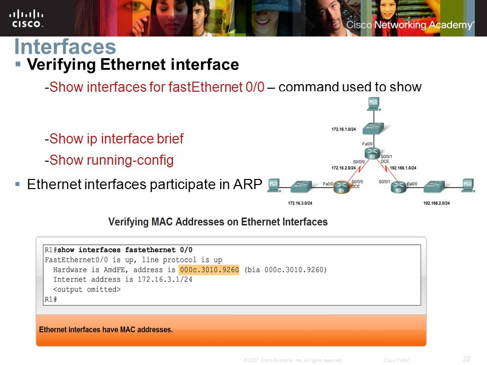 Interfaces Verifying Ethernet interface